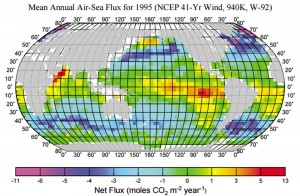 Net flow of CO2 over oceans (T. Takahashi et al., 2002, http://www.ldeo.columbia.edu/~csweeney/papers/taka2002.pdf)