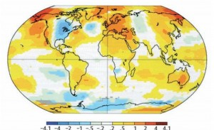 Map of temperature anomalies (° C) in 2014 compared to the normal from 1981 to 2010: http://data.giss.nasa.gov/gistemp/maps